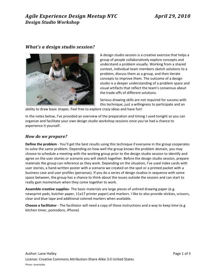 Agile Experience Design Meetup NYC                                                  April 29, 2010 Design Studio Workshop ...