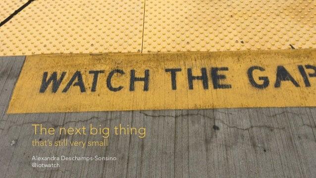 The next big thing that's still very small Alexandra Deschamps-Sonsino @iotwatch