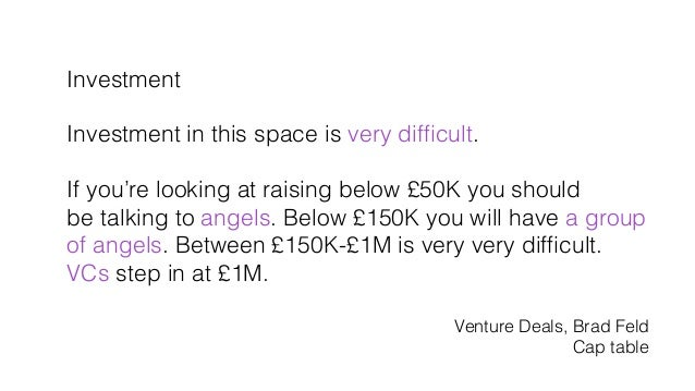 Investment! ! Investment in this space is very difficult.! ! If you're looking at raising below £50K you should! be talking...