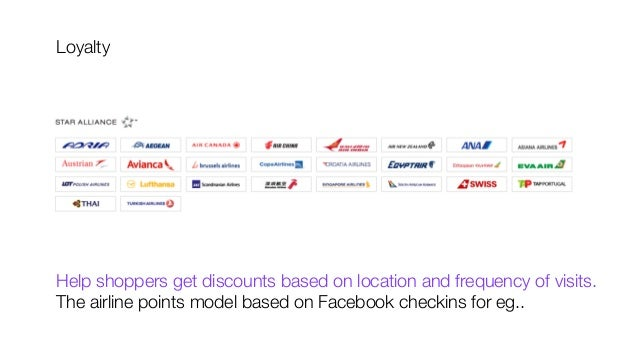 Loyalty           Help shoppers get discounts based on location and frequency of visits. The airline points model based on...