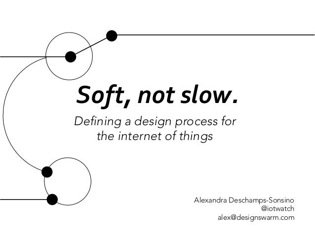 Soft,	   not	   slow.	   	    Defining a design process for  the internet of things  Alexandra Deschamps-Sonsino @iotwatch...
