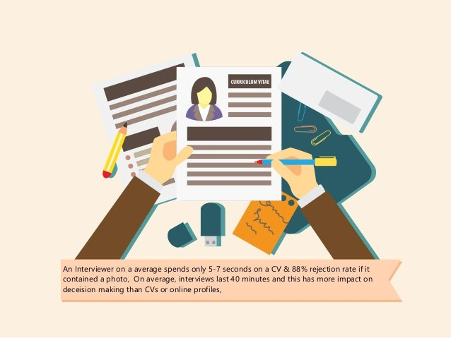 An Interviewer on a average spends only 5-7 seconds on a CV & 88% rejection rate if it contained a photo, On average, inte...