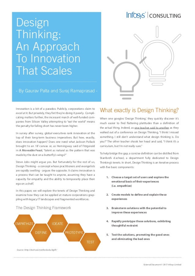 Design thinking an approach to innovation that scales for Design thinking consulting