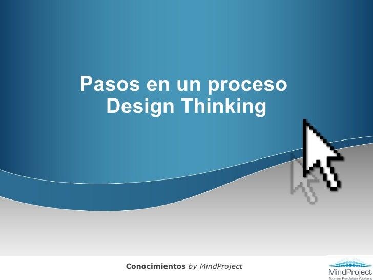 Pasos en un proceso  Design Thinking Conocimientos  by MindProject
