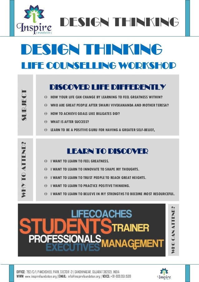 DESIGN THINKING  DESIGN THINKING SUBJECT  LIFE COUNSELLING WORKSHOP DISCOVER LIFE DIFFERENTLY  HOW YOUR LIFE CAN CHANGE B...
