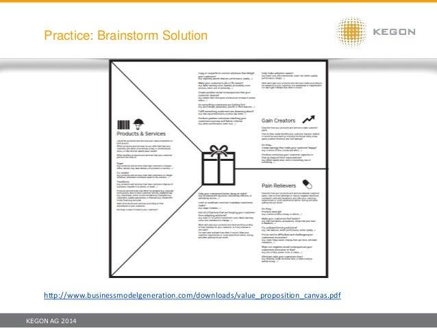 KEGON AG 2014 Practice: Brainstorm Solution http://www.businessmodelgeneration.com/downloads/value_proposition_canvas.pdf