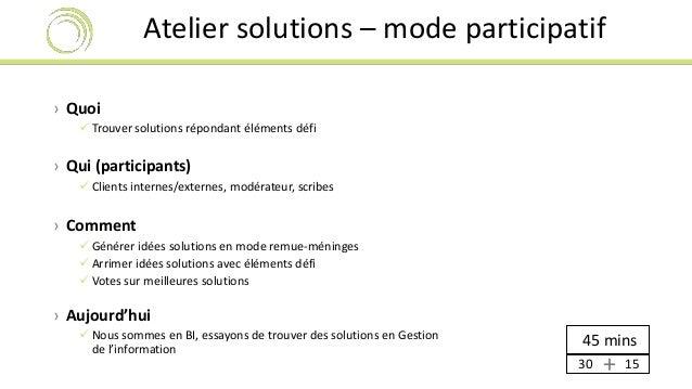 Atelier solutions – mode participatif  › Quoi   Trouver solutions répondant éléments défi  › Qui (participants)   Client...