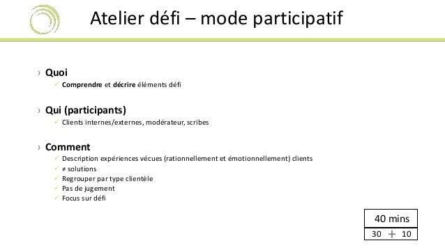 Atelier défi – mode participatif  › Quoi   Comprendre et décrire éléments défi  40 mins  › Qui (participants)   Clients ...