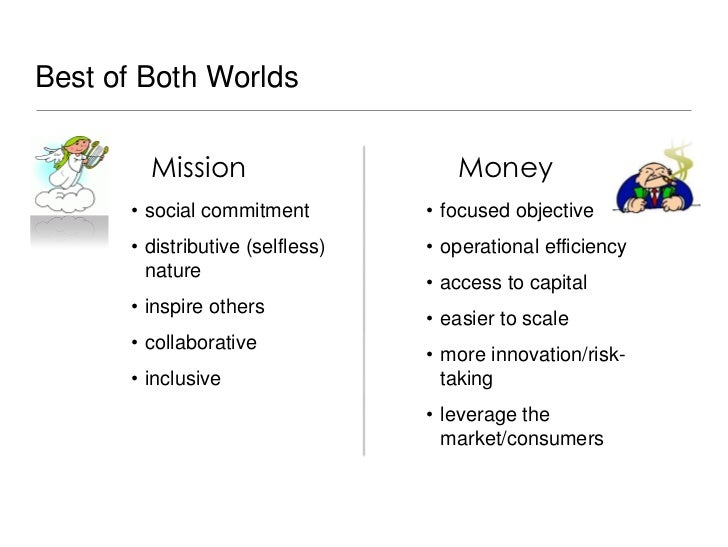 Best of Both Worlds        Mission                      Money      • social commitment         • focused objective      • ...