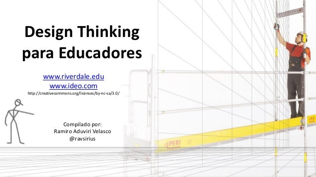 Design Thinking para Educadores Compilado por: Ramiro Aduviri Velasco @ravsirius www.riverdale.edu www.ideo.com http://cre...