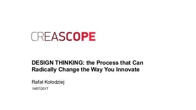 DESIGN THINKING: the Process that Can Radically Change the Way You Innovate Rafał Kołodziej 14/07/2017
