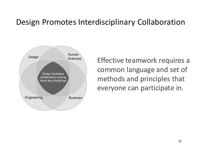 Design Promotes Interdisciplinary Collaboration Design Engineering Business Human Sciences Design facilitates collaboratio...