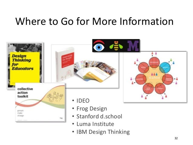 • IDEO • Frog Design • Stanford d.school • Luma Institute • IBM Design Thinking Where to Go for More Information 32