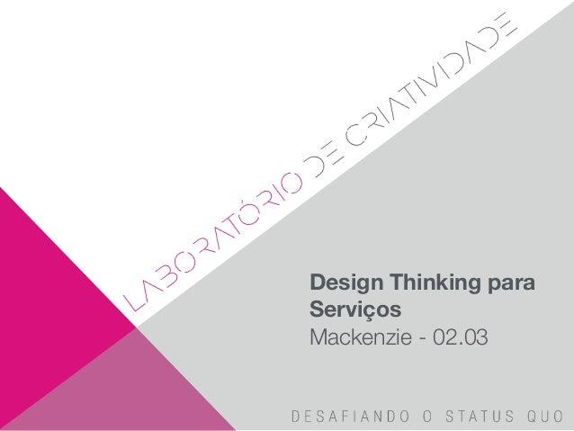 Design Thinking para Serviços Mackenzie - 02.03