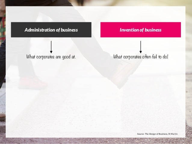 Administration of business Invention of business What corporates are good at. What corporates often fail to do! Source: Th...