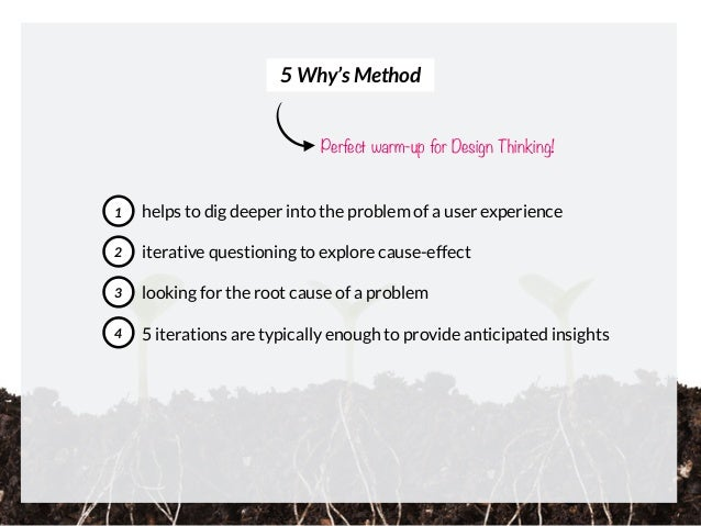 helps to dig deeper into the problem of a user experience iterative questioning to explore cause-effect looking for the ro...