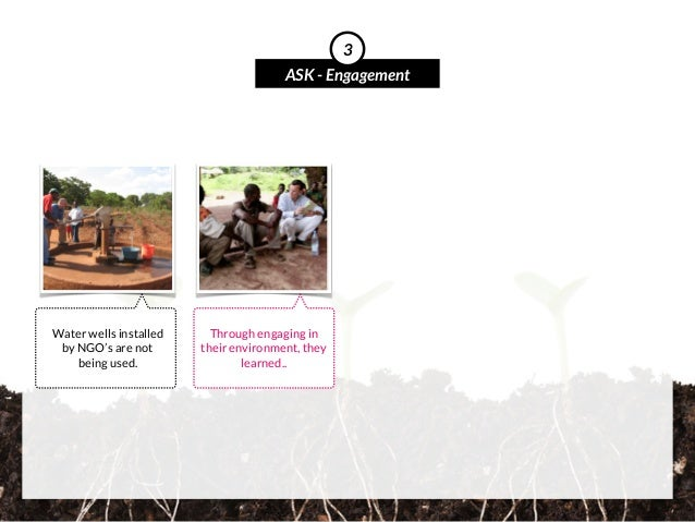 Water wells installed by NGO's are not being used. ASK - Engagement 3 Through engaging in their environment, they learned..