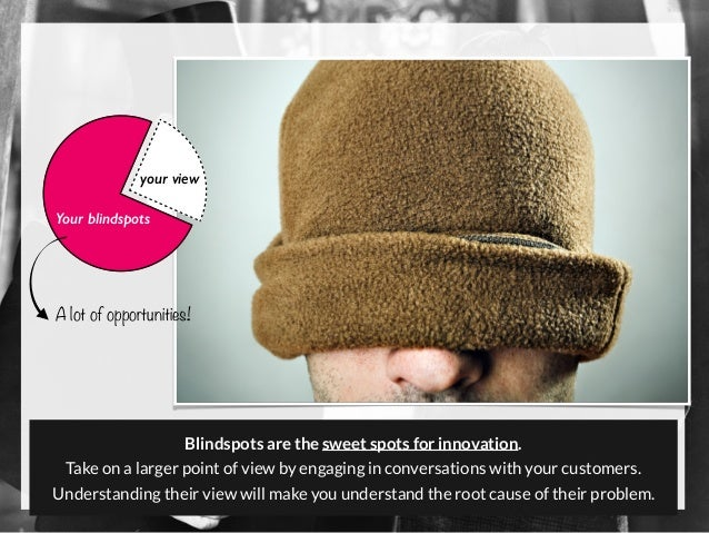 your view Your blindspots Blindspots are the sweet spots for innovation. Take on a larger point of view by engaging in con...