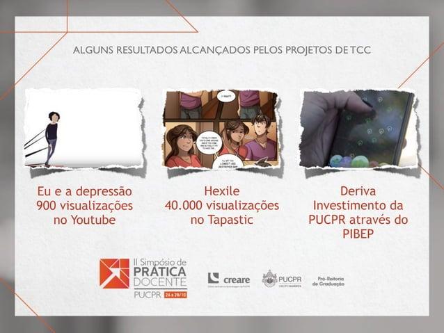 alguns resultados alcançados pelos projetos de TCC Eu e a depressão 900 visualizações no Youtube Hexile 40.000 visualizaçõ...