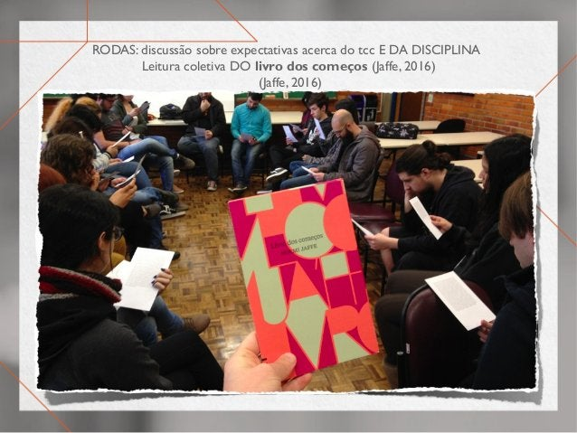 RODAS: discussão sobre expectativas acerca do tcc E DA DISCIPLINA Leitura coletiva DO livro dos começos (Jaffe, 2016) (Jaf...