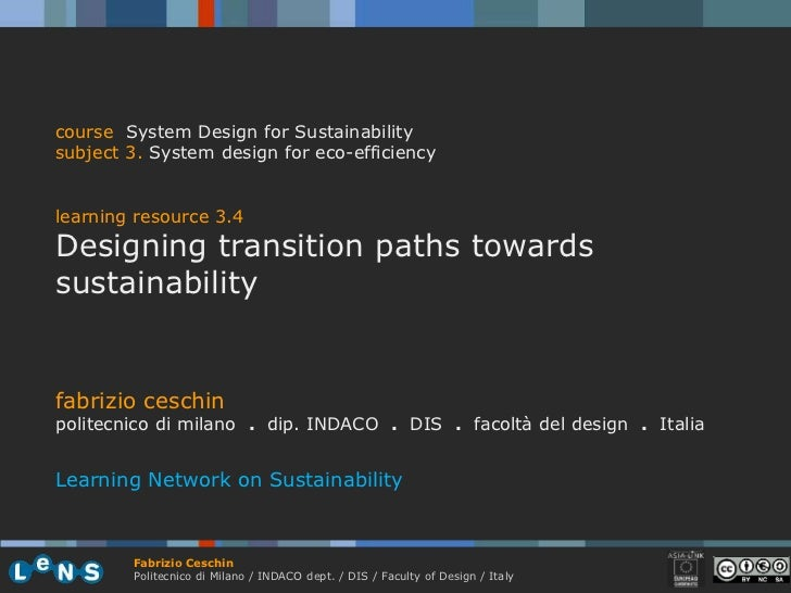 course System Design for Sustainability subject 3. System design for eco-efficiency   learning resource 3.4 Designing tran...