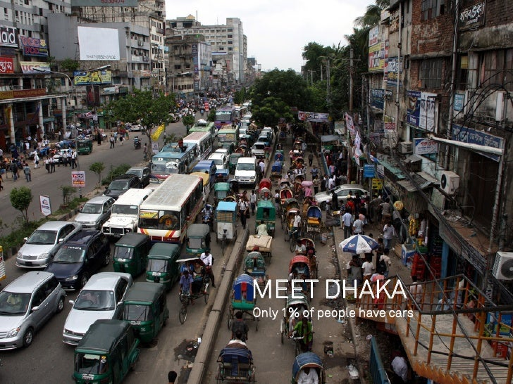 The problem                                Rush hour traffic in Jakarta              MEET DHAKA              Only 1% of pe...