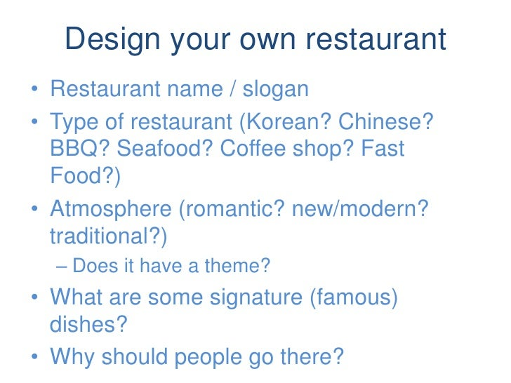 Design your own restaurant