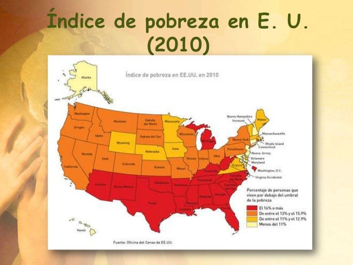 Índice de pobreza en E. U.          (2010)
