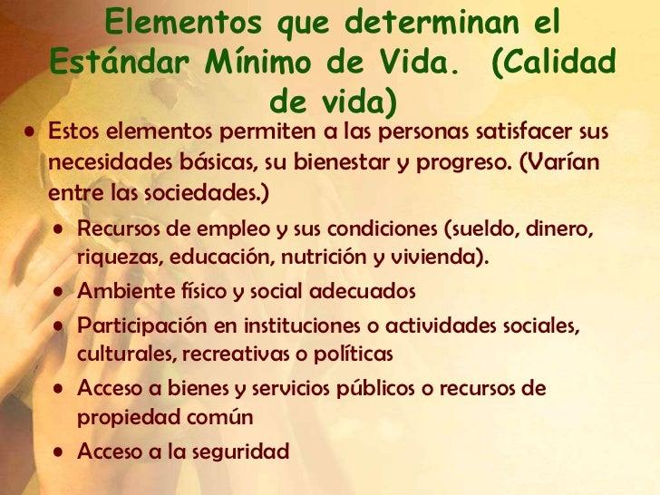 Elementos que determinan el  Estándar Mínimo de Vida. (Calidad               de vida)• Estos elementos permiten a las pers...
