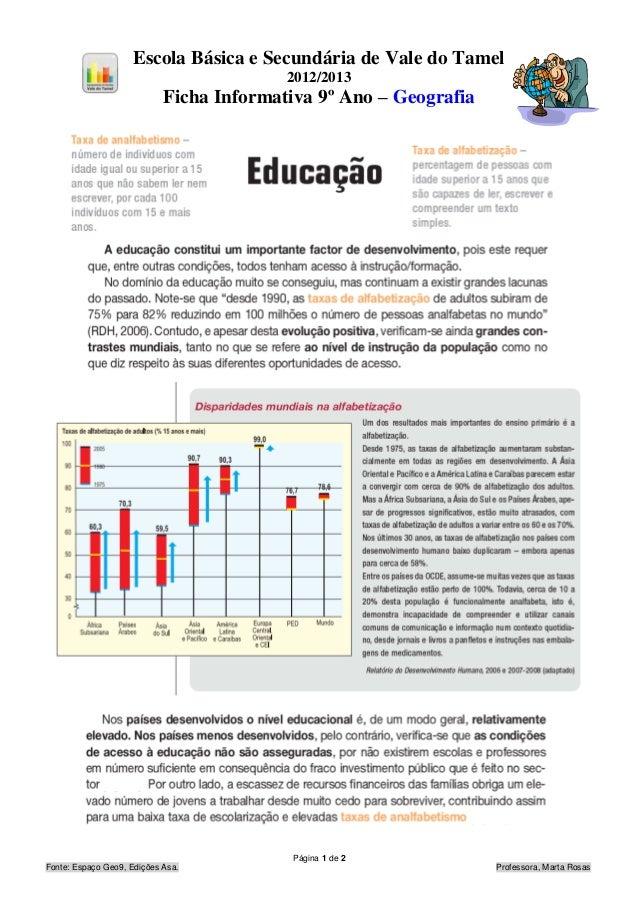 Escola Básica e Secundária de Vale do Tamel                                          2012/2013                            ...