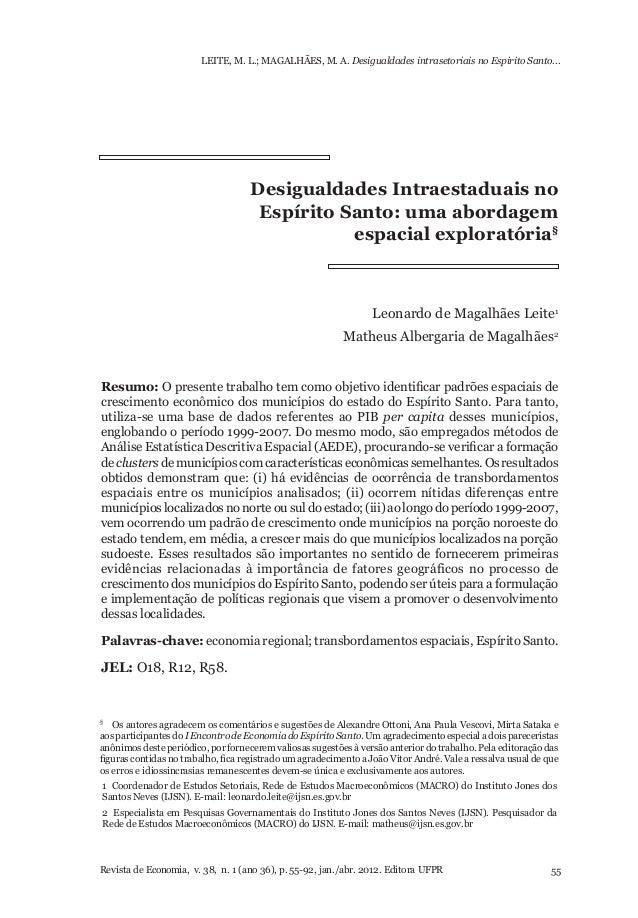 LEITE, M. L.; MAGALHÃES, M. A. Desigualdades intrasetoriais no Espirito Santo...  Desigualdades Intraestaduais no Espírito...