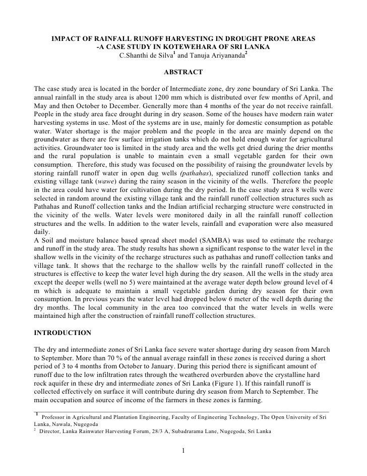 IMPACT OF RAINFALL RUNOFF HARVESTING IN DROUGHT PRONE AREAS                 -A CASE STUDY IN KOTEWEHARA OF SRI LANKA      ...
