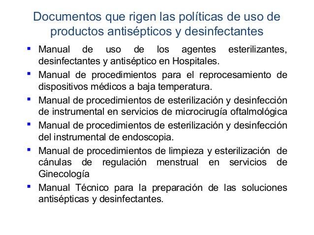 Desinfeccion y esterilizacion for Manual de limpieza y desinfeccion en restaurantes