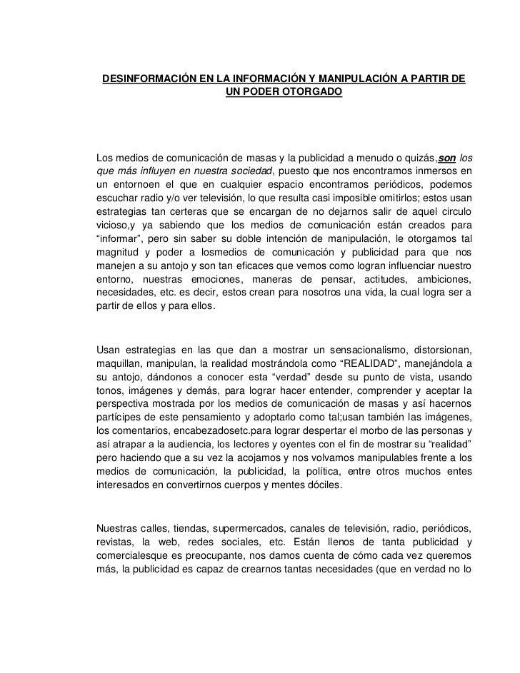 DESINFORMACIÓN EN LA INFORMACIÓN Y MANIPULACIÓN A PARTIR DE                    UN PODER OTORGADOLos medios de comunicación...
