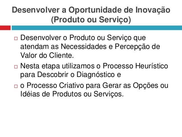 Desenvolver a Oportunidade de Inovação (Produto ou Serviço)       Desenvolver o Produto ou Serviço que atendam as Neces...