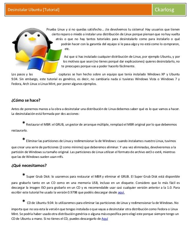 Desinstalar Ubuntu [Tutorial]                                                                           Ckarlosg          ...