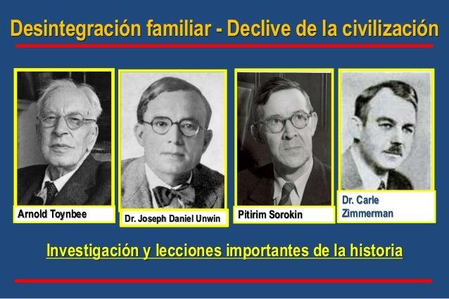 Investigación y lecciones importantes de la historia Dr. Carle ZimmermanArnold Toynbee Pitirim Sorokin Desintegración fami...