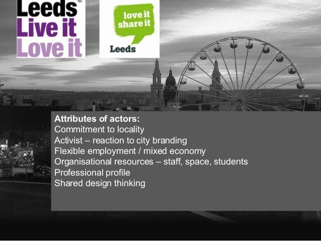 Attributes of actors: Commitment to locality Activist – reaction to city branding Flexible employment / mixed economy Orga...