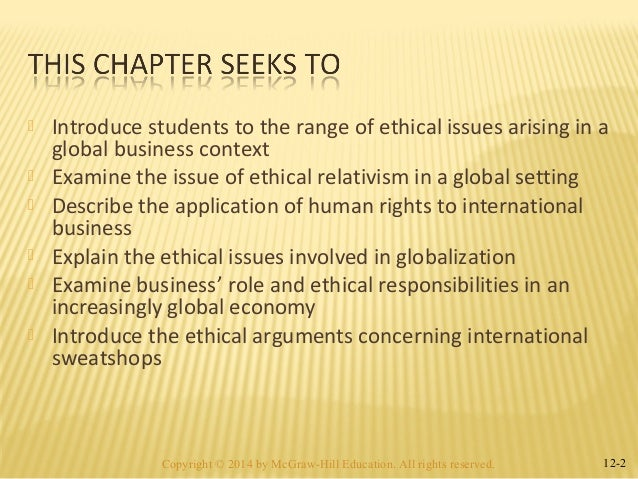 Describing the ethical issues in international