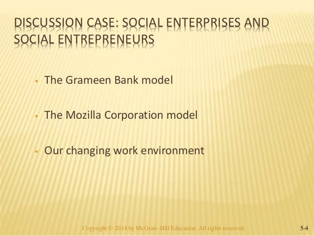 grameen bank a social enterprise case Social benefits in terms of the empowerment of women and its positive impact on  human capital—must question  the legacy of grameen bank will ultimately be  not what it has done  in the latter case, the bank declares the loan to be in.