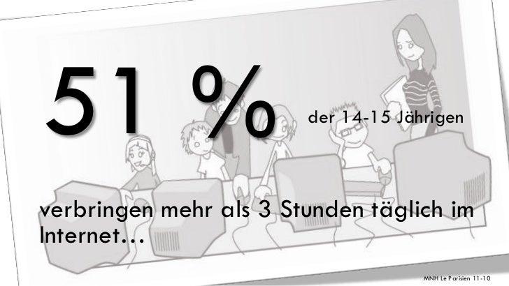 51 %                    der 14-15 Jährigenverbringen mehr als 3 Stunden täglich imInternet…                               ...
