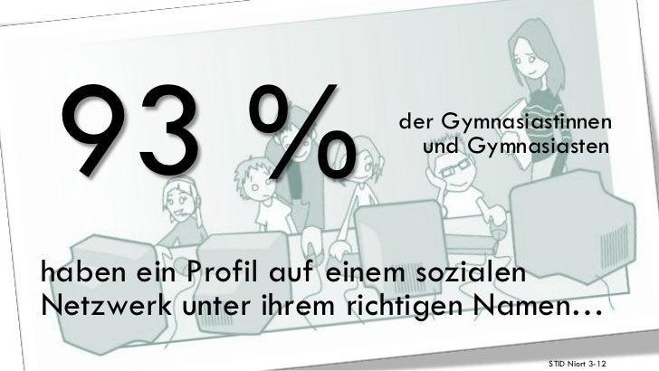 93 %                   der Gymnasiastinnen                         und Gymnasiastenhaben ein Profil auf einem sozialenNetz...