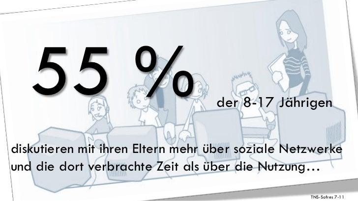 55 %                           der 8-17 Jährigendiskutieren mit ihren Eltern mehr über soziale Netzwerkeund die dort verbr...