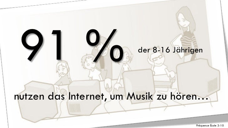 91 %                   der 8-16 Jährigennutzen das Internet, um Musik zu hören…                                       Fréq...