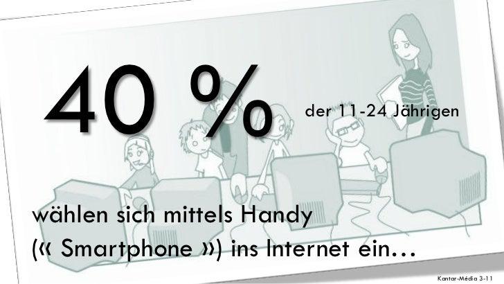 40 %                   der 11-24 Jährigenwählen sich mittels Handy(« Smartphone ») ins Internet ein…                      ...
