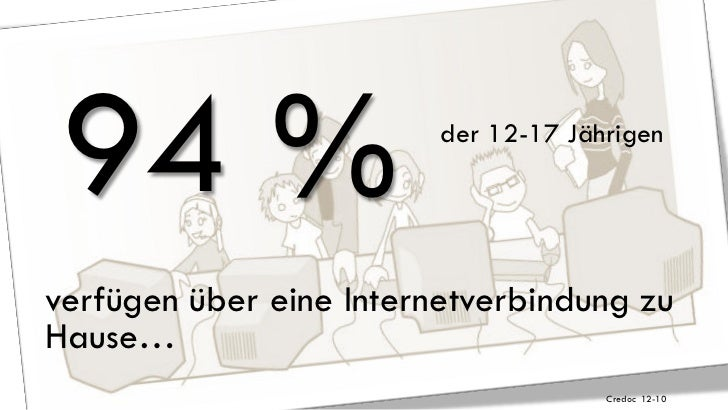 94 %                    der 12-17 Jährigenverfügen über eine Internetverbindung zuHause…                                  ...