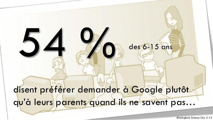 54 %                      des 6-15 ansdisent préférer demander à Google plutôtqu'à leurs parents quand ils ne savent pas… ...