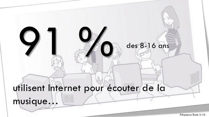 91 %                      des 8-16 ansutilisent Internet pour écouter de lamusique…                                       ...