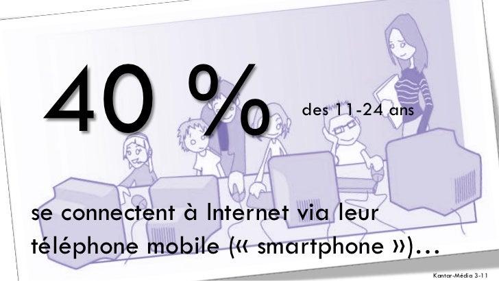 40 %                  des 11-24 ansse connectent à Internet via leurtéléphone mobile (« smartphone »)…                    ...