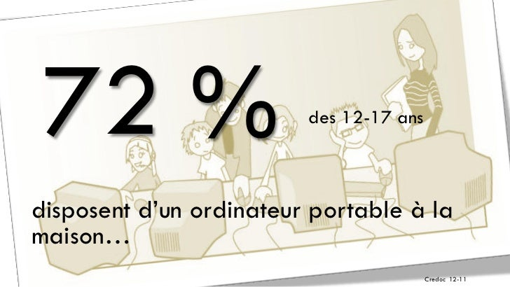 72 %                    des 12-17 ansdisposent d'un ordinateur portable à lamaison…                                       ...